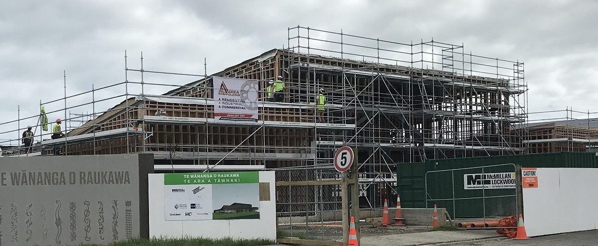 Scaffolding installed to a building under construction