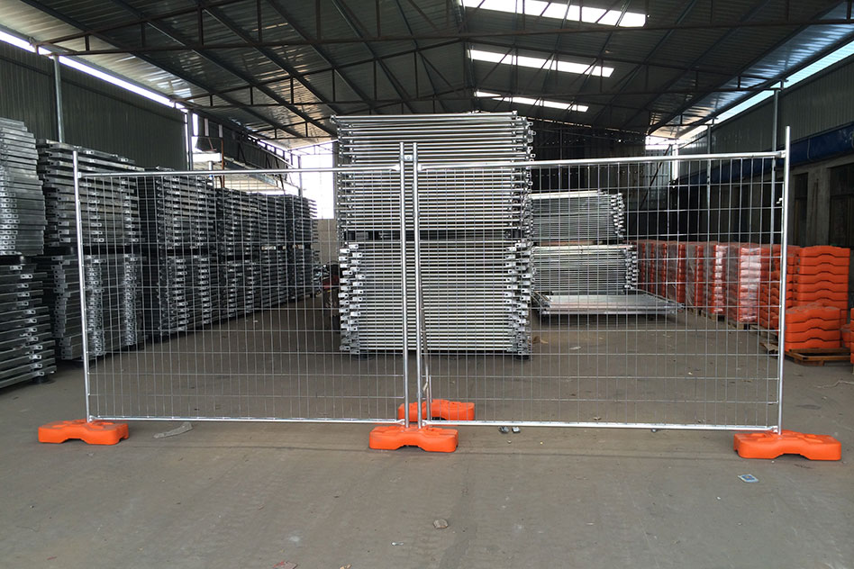 Temporary fencing fully erected for display